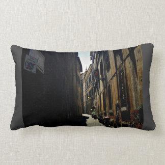 A narrow alley through old buildings pillows