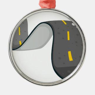 A narrow road Silver-Colored round ornament