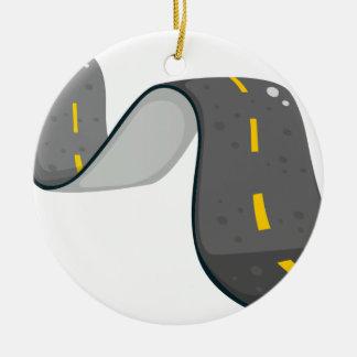 A narrow road round ceramic ornament