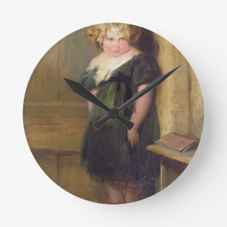 A Naughty Child (oil on canvas) Round Clock