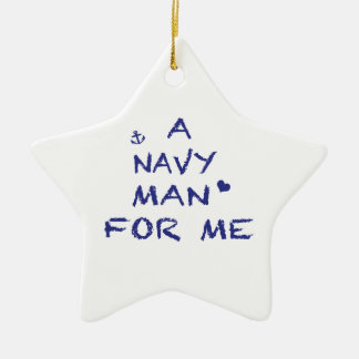 A Navy Man For Me Double-Sided Star Ceramic Christmas Ornament