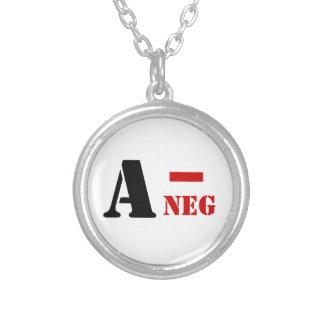 A - NEG BLOOD TYPE ROUND PENDANT NECKLACE