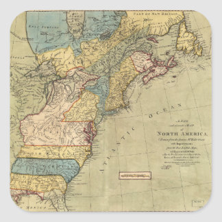 A new and accurate map of North America (1771) Square Sticker