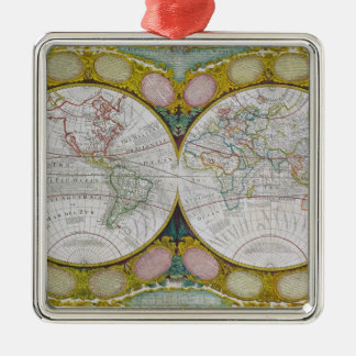 A New and Correct Map of the World, 1770-97 Metal Ornament