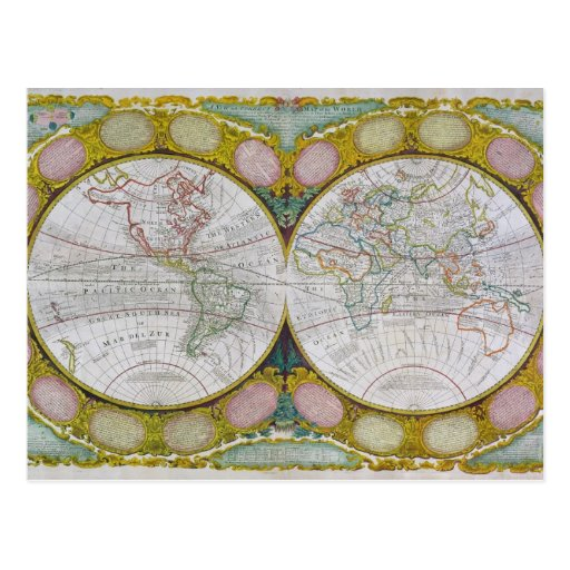 A New and Correct Map of the World, 1770-97 Postcard