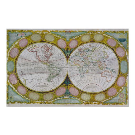 A New and Correct Map of the World, 1770-97 Poster