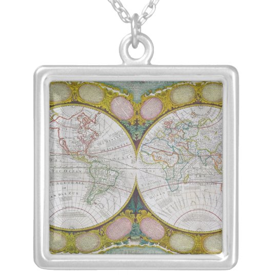 A New and Correct Map of the World, 1770-97 Silver Plated Necklace