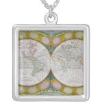 A New and Correct Map of the World, 1770-97 Square Pendant Necklace