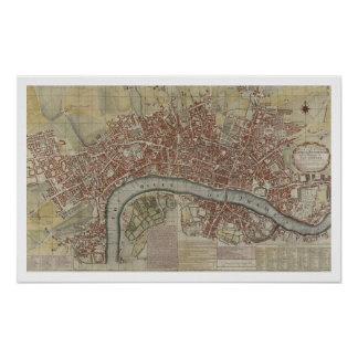 A New and Exact Plan of the Cities of London and W Poster