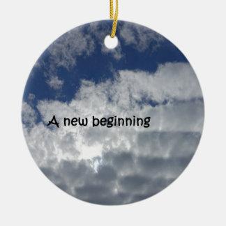 A new beginning ceramic ornament