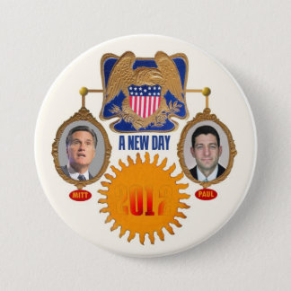 """A New Day"""" Romney / Ryan Pinback Button"""