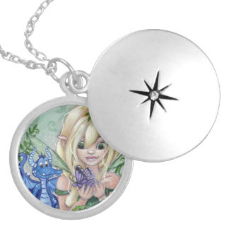 """A New Friend"" cute fairy dragon LOCKET NECKLACE"