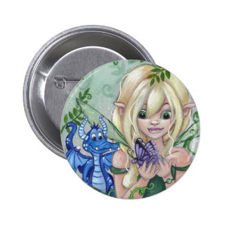 """A New Friend"" Fairy and Dragon Button"