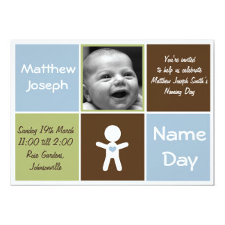 a new heart name day baby boy invitation