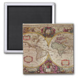A New Land and Water Map of the Entire Earth 2 Inch Square Magnet