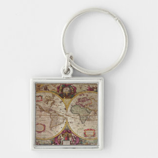 A New Land and Water Map of the Entire Earth Keychain