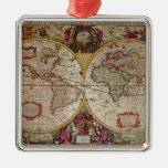 A New Land and Water Map of the Entire Earth Christmas Tree Ornaments