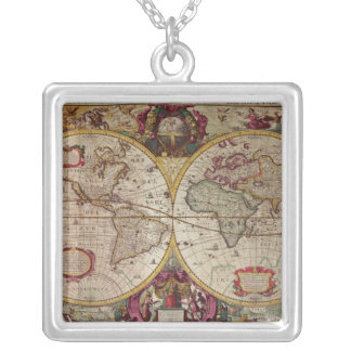 A New Land and Water Map of the Entire Earth Silver Plated Necklace