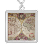A New Land and Water Map of the Entire Earth Square Pendant Necklace