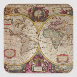 A New Land and Water Map of the Entire Earth Square Sticker