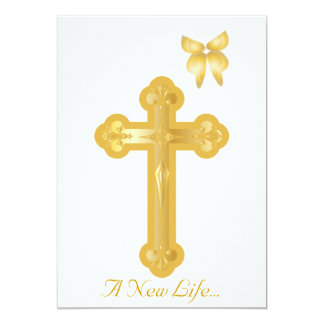 A New Life Christening Invitation-Customize Card