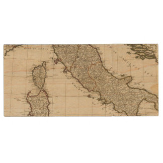 A new map of Italy with the islands of Sicily Wood USB 2.0 Flash Drive