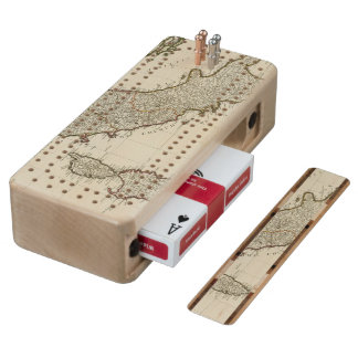 A new map of Italy with the islands of Sicily Maple Cribbage Board