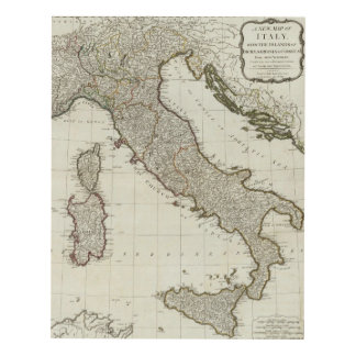 A new map of Italy with the islands of Sicily Panel Wall Art