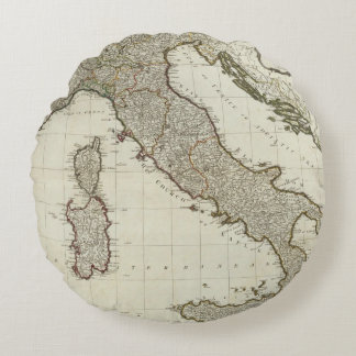 A new map of Italy with the islands of Sicily Round Pillow