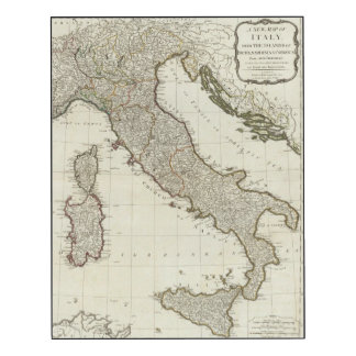 A new map of Italy with the islands of Sicily Wood Wall Art