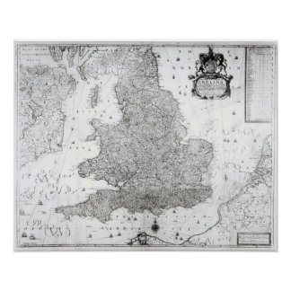 A New Map of the Kingdom of England Poster