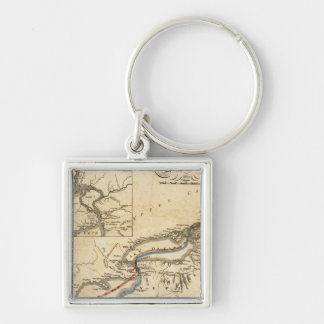 A New Map Of The Seat Of War Silver-Colored Square Keychain