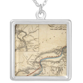 A New Map Of The Seat Of War Square Pendant Necklace