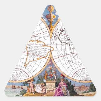 A New Map Of The Terraqueous Globe Triangular Stic Triangle Sticker