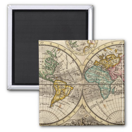 A new map of the whole world with trade winds magnet