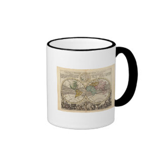 A new map of the whole world with trade winds ringer coffee mug
