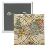 A new map of the whole world with trade winds pinback button