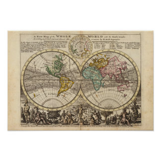A new map of the whole world with trade winds poster