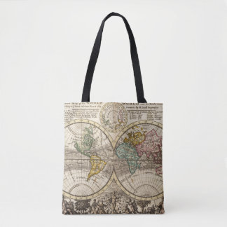 A new map of the whole world with trade winds tote bag