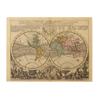 A new map of the whole world with trade winds wood wall art