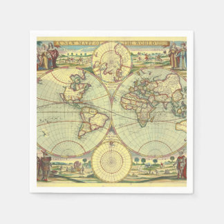 A new mapp of the world - Atlas Paper Napkin