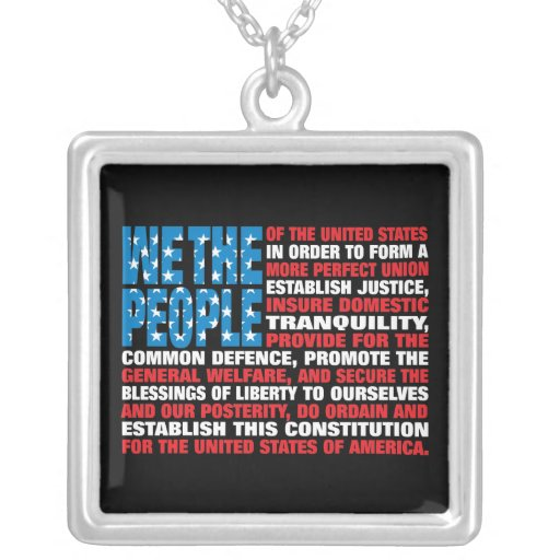 A New Twist on Old Glory Square Pendant Necklace