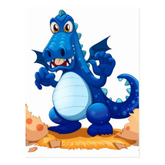 A newly hatched blue dragon postcard