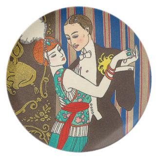 A Night in Decadent Paris Art Deco Plate