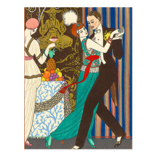 A Night in Decadent Paris Art Deco Postcard