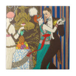 """A Night in Decadent Paris Art Deco Tile<br><div class=""""desc"""">A Night in Decadent Paris tile. Art Deco print from 1914. French artist Georges Barbier was one of the great illustrators working in Paris France in the 1920s. He frequently depicted scenes of Parisian nightlife. A night in decadent Paris features a French couple dancing at a party. The woman wears...</div>"""