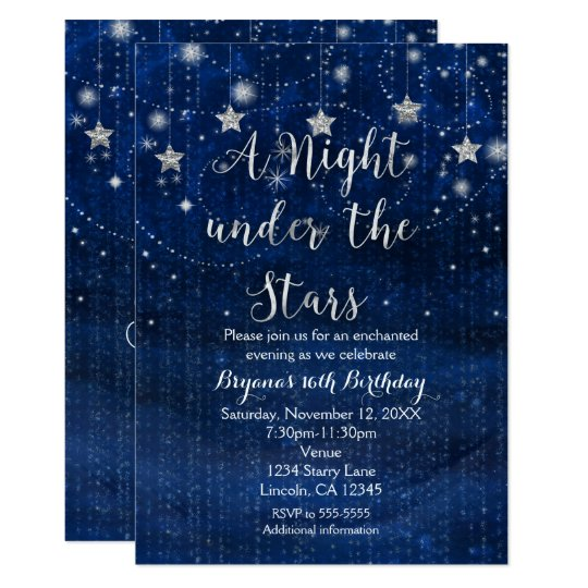 a night under the stars silver blue invitation zazzle com