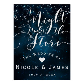 A NIGHT UNDER THE STARS Starry Blue Skies Banner Poster