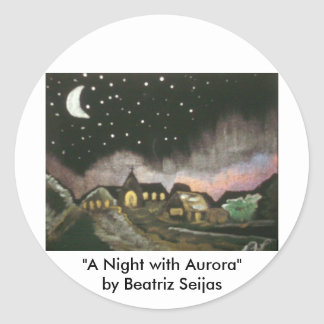 """""""A Night with Aurora"""" Large Round Art Stickers"""