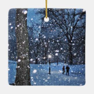 A Nighttime Walk Through Winter Snow Ceramic Ornament